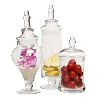 3 Pc Clear Glass Apothecary Jars Set Housewarming Gift