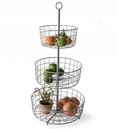 Industrial Three-Tiered Basket- Silver