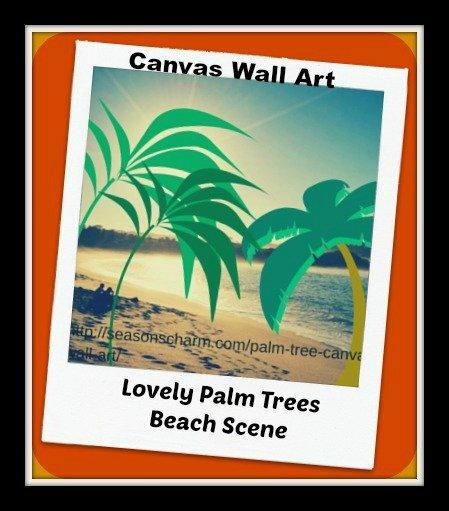 Lovely Palm Trees Beach Scene Wall Art