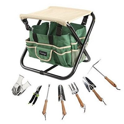 9 Piece All-In-One Garden Folding Stool Set with 1 Tote Bag