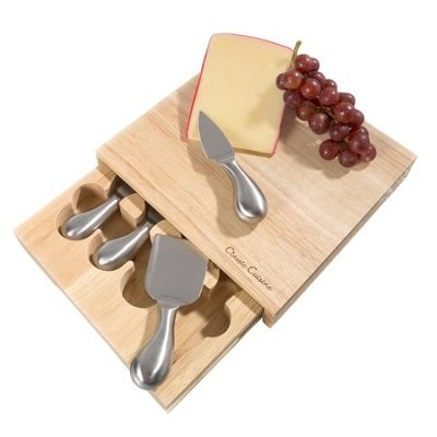 Cheese Board 5 piece Set with Stainless Steel Knives