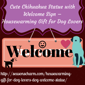 Chihuahua Dog Statue with Welcome Sign