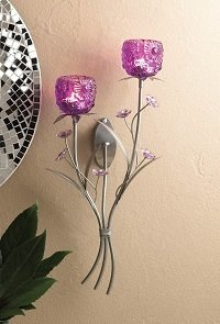 Fuchsia Blooms Floral Candle Holder Wall Sconce