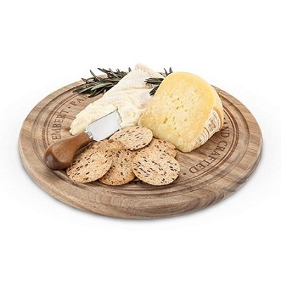 Twine Rustic Farmhouse Rounded Cheese Board and Knife Set