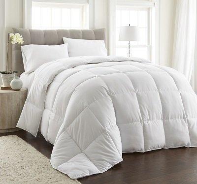 chezmoi collection king goose down alternative comforter with corner tab, white