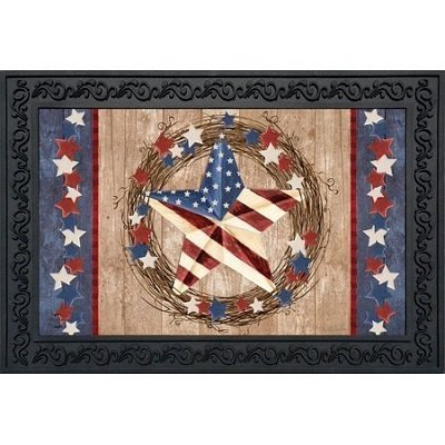 Americana Barnstar Patriotic Doormat Primitive Wreath Indoor Outdoor 18 inch x 30 inch