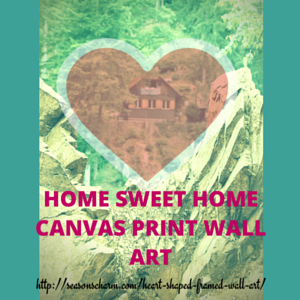 Heart Shaped Framed Wall Art Canvas Print Countryside Cottage