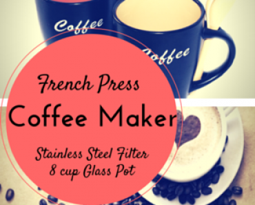 Large 8 cup Glass French Press Coffee Maker With Stainless Steel Filter Housewarming Gift