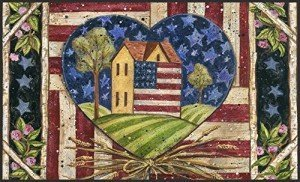 Patriotic Decorative USA-Produced Indoor-Outdoor Designer Mat