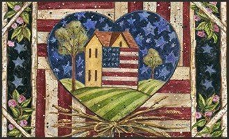 Patriotic Decorative USA-Produced Indoor-Outdoor Designer Mat