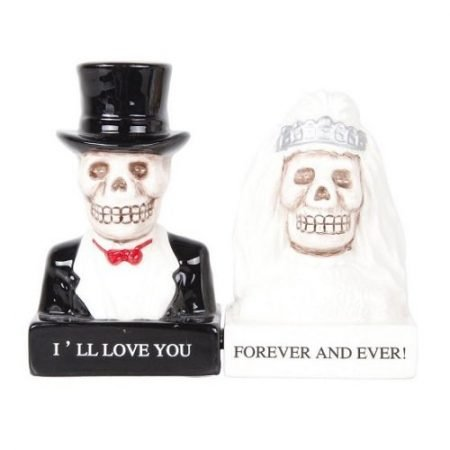 Love Never Dies Bride and Groom Day of the Dead Skeleton Couple Magnetic Salt and Pepper Shakers
