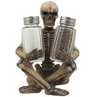 Scary Skeleton Glass Salt and Pepper Shaker Set