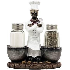 Spooky Skeleton Chef Glass Salt and Pepper Shaker Set with Cauldrons & Skulls