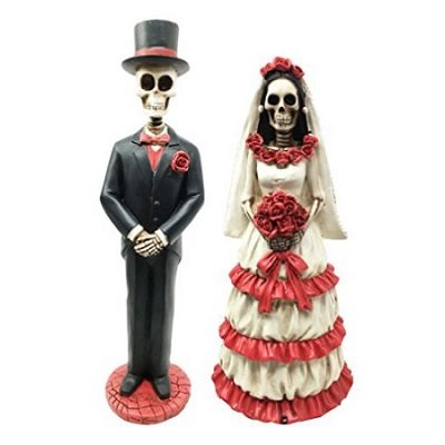 Day Of The Dead Traditional Wedding Rose Gown Skeleton Bride Groom Couple Figurine