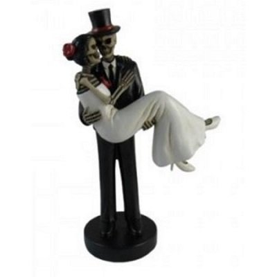 Forever Yours Skeleton Wedding Couple Bride and Groom Day of the Dead Figurine