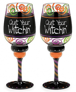 Halloween Quit Your Witchin Set of 2 Wine Glasses
