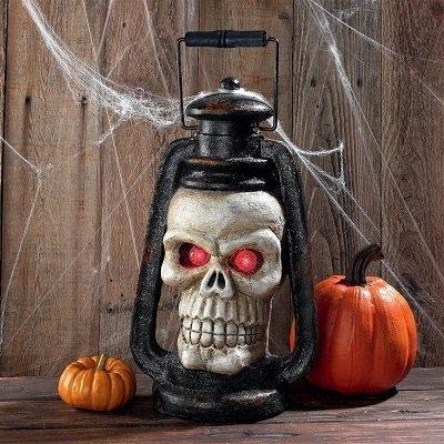 Haunted Graveyard Skull Lantern With Led Eyes