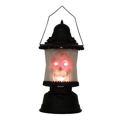LED Skull Lantern Music Sound Scary Light Up Skeleton Halloween Lamp