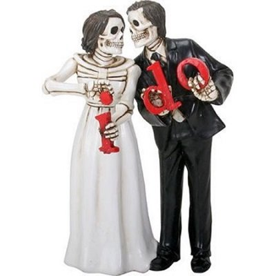 Love Never Dies Skeleton Wedding Couple Bride and Groom I Do Figurine