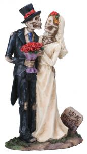Love Never Dies Skeleton Wedding Couple Figurine