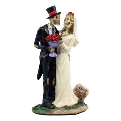 Skeleton Bride & Groom With Rose Flower Bouquet Figurine Love Never Dies