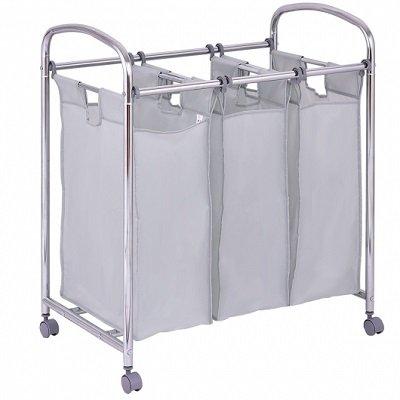 Laundry Cart Basket Triple Bag Sorter Bathroom Hamper
