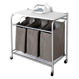 StorageManiac 3 Lift-off Bags Laundry Sorter with Foldable Ironing Board, Multifunctional Laundry Cart