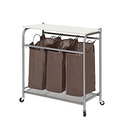 storagemaniac 3 lift-off foldable laundry sorter with ironing board