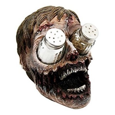 Gory Eyeless Zombie Walking Undead Salt Pepper Shakers Holder Figurine