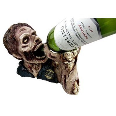 Zombie Drinking Elixir of Life Wine Bottle Holder Caddy Figurine