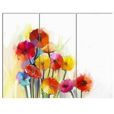 Colorful Gerbera Flowers Watercolor 3 Piece Painting Print on Wrapped Canvas Set