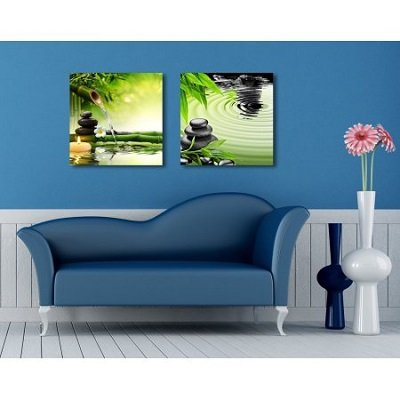 Zen Basalt Stones and Bamboo Modern 2 Panel Canvas Prints Giclee Printing