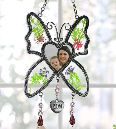 Butterfly Suncatcher - Mom Butterfly with Pressed Flowers and a Heart Shaped Picture Opening