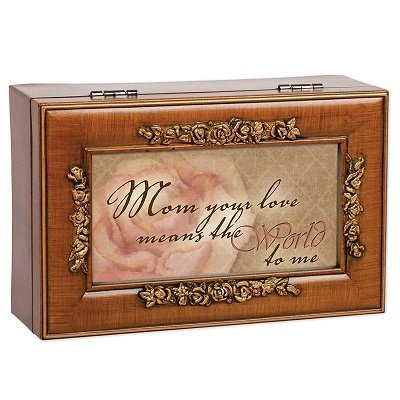 Mom Your Love Woodgrain Rose Mother Gift Music Jewelry Box