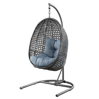 Patio Wicker Hanging Chair with Stand and Blue Cushion