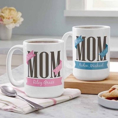 Personalized New Mom Coffee Mug, 15 oz