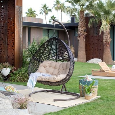 Resin Wicker Hanging Double Egg Chair with Cushion and Stand
