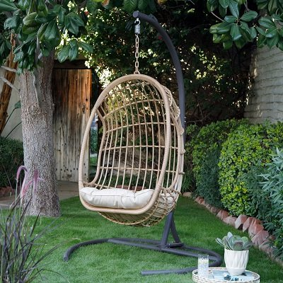 Resin Wicker Hanging Egg Chair with Cushion and Stand