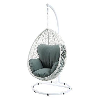 White Wicker Outdoor Hanging Egg Chair with Cushion