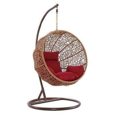 Woven Rattan Hanging Lounge Chair with Red Cushions