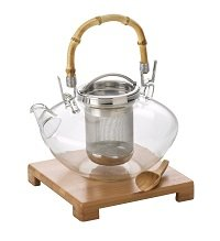 BonJour Tea Handblown Glass Zen Teapot with Stainless Steel Infuser and Bamboo Trivet, 42-Ounce