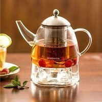 Heat Tempered Teapot with Tea Infuser and Warmer, 61 oz., Glass