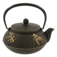 Iwachu Japanese Iron Teapot Tetsubin Gold and Black Goldfish