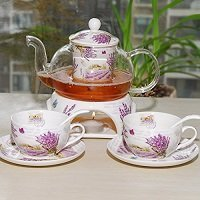 Kendal 27 oz tea maker teapot with a Porcelain warmer and 2 set of Porcelain Cup and Saucer and Spoon