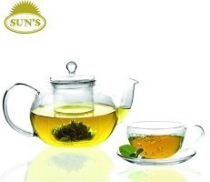 Sun's Tea (TM) 32oz Ultra Clear Heat Resistant Borosilicate Glass Teapot & Infuser for loose tea or display tea