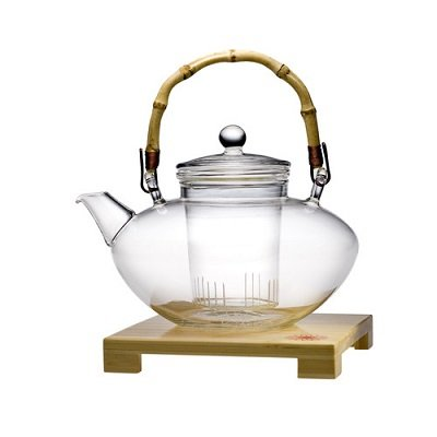 Tea Posy Hand Blown Glass Zen Teapot with Infuser and Bamboo Trivet