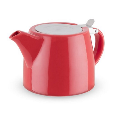 Teapot With Infuser, Harper Red Ceramic Loose Leaf Insulated Teapot