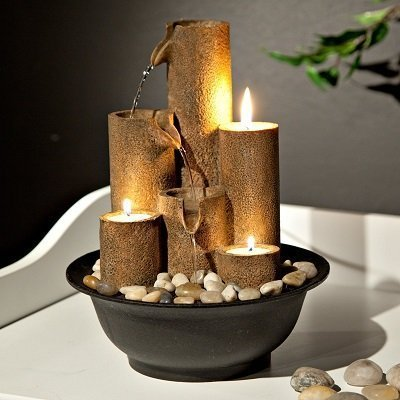 Alpine Tiered Column Tabletop Fountain with 3 Candles, 11 Inch Tall