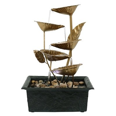 Cascading Five Leaves Tabletop Fountain with LED Light, 13 Inch