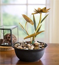 Golden Lotus Flower Metal Fountain